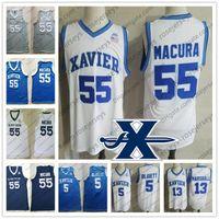 맞춤형 Xavier Musketeers 2020 농구 # 13 Naji Marshall 4 Tyrique Jones 55 JP Macura 1 Paul Scruggs 화이트 Bue 남성 청소년 어린이 저지