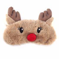 Toptan Göz Kapağı Uyku Maskesi Eyepatch Bandaj Körü Körüne Noel Geyik Kış Karikatür Şekerleme Göz Gölge Peluş Sevimli Hayvan Uyku Maskesi