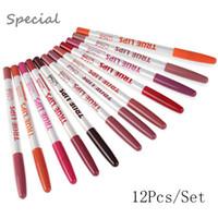 12 Unids / lote Lip Liner 15 CM 12 Colores / Set Lápiz a prueba de agua Profesional de larga duración Lipliner Labios Maquillaje Herramientas
