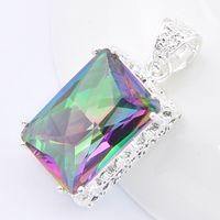 Luckyshine 10 Stück Quadrat Vintage Mystische Regenbogen Topas Edelsteine 925 Sterling Silber Überzogene Hochzeitsschmuck für Frauen Anhänger für Halsketten
