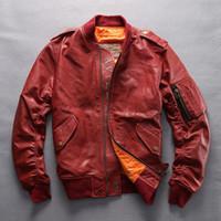 chaquetas de vuelo chaquetas de cuero uniforme del béisbol de la chaqueta de cuero de la motocicleta 6XL 5XL 4XL AVIREXFLY piel de oveja