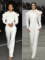 2019 neue Ankunft Celebrity Kleider Weiße Bein Jumpsuit Lange Ärmel High Hals Mit Blumen Formale Party Abendkleider Maßgeschneidert