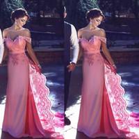 Elegante encaje trenes trenes vestidos de fiesta rosa sexy fuera del hombro sirena vestidos de noche vistes de agua cóctel formal fiesta de fiesta barato