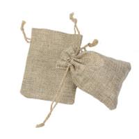 8 * 11 cm Çift katmanlı yüksek quanlity Doğal Keten İpli çanta Takı Kılıfı Hediye hessian Düğün favor çanta Jüt çanta çuval paketi