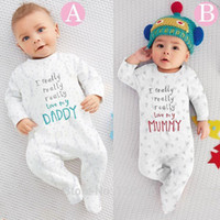 2018 novo bebê menino roupas meninos meninas roupas de bebê macacão de bebê roupas Eu amo minha mamãe e papai Unisex de mangas compridas conjunto de roupas