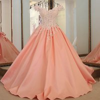 Peach Beaded Evening Gown Satin Big Bow Sweet Elegant Ball G...