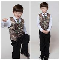 2019 Gerçek Ağaç Camo çocuğun Resmi Giyim Yelekler Ile Bağları Kamuflaj Damat Erkek Yelek Ucuz Saten Özel Resmi Düğün Yelek Kamuflaj