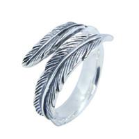Kostenloser Versand Größe 6-10 Lady Girls 925 Sterling Silber Ring Schmuck Neueste S925 Mode Feder Ring