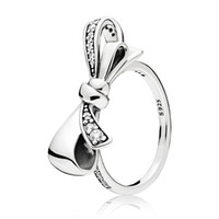 2018 New Silver Charms Diy Big Bow Crystal Round Rings Fit W...