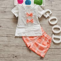 summer baby girl clothing set fashion children cotton bow la...
