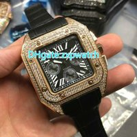 High- quality men' s wristwatches black dial rose gold Di...
