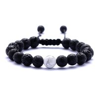 Natural Turquoise Black Lava Stone Weave Bracelets Aromather...