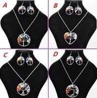 Femmes arc en ciel 7 améthyste chakra arbre de la vie puces de quartz boucles d'oreilles collier ensembles de bijoux multicolore arbre de sagesse collier en pierre naturelle