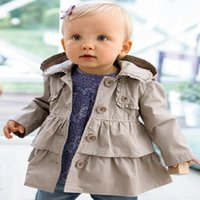 MORENNA retail Girls breasted coat England style solid baby ...