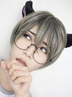 Krótkie Peruki Lolita Prosto Harajuku Neon Green Boy Cut Syntetyczne Włosy Peruki