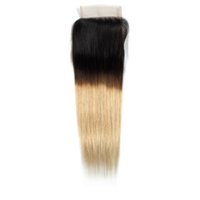Ombre Hair Closure 4x4 T1B 27 Blonde Free Part Brazilian Str...