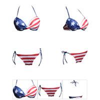 Neue Frauen-reizvolle Bikinis stellten amerikanische Flaggen-Druck-rote gestreifte Schriftsätze blaue Stern-Büstenhalter ein Zwei Stücke Badeanzug-Unabhängigkeitstag-Sommer-Beachwear