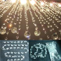 Nuovo 2PCS / PACK 6 FT Lampadario in vetro trasparente lampada da sposa Decor Bean catena appesa prismi Garland Decorazioni per feste