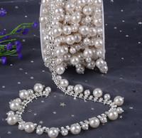 Nuovi nastri del nappa della perla del primo piano di vetro del fiore del cristallo chiaro Rhinestone di vetro della catena della cinghia di modo nuziale d'argento del rivestimento delle borse
