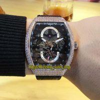 Colección de hombres de alta calidad Vanguard V 45 S6 SQT NR BR (NR) Negro Esqueleto Dial Automático Mens Reloj helado Out Diamonds Case Relojes deportivos