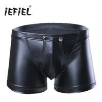 iEFiEL Открытый чехол с дырочкой Сексуальные мужские шорты из искусственной кожи Нижнее бельё Трусы Engeancer Gay Man Jockstraps Трусы