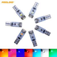 FEELDO 50PCS CAR T5 5LED 3014 SMD AUTO WEDGE LIGHT LAMP VARNING CANBUS Ingen felbil LED-ljus 7-färg # 4024