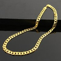 2017 New 6MM Dia Yellow Solid Gold Filled Cuban Chain Necklace Thick Mens Jewelry Womens Cool for dad boyfriend birthday gift