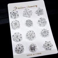 12 stks gemengde bloem kristal verzilverd legering broches hoge kwaliteit mode bruidstaart bloem pins meisjes mooie kraag pinnen