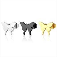 10piars / lotto Orecchini a farfalla ben definiti Orecchini in acciaio inossidabile Simple Black Gold Hiphop Carino InseEar Studs Donna Ragazze Uomo Bambini Gioielli