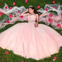Pink Sweetheart Crystal Tulle Quinceanera Dresses Pleated Floor Length Ball Gown Prom Dresses Corset Lace Up Sweet 16 Dresses