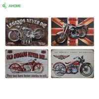 AIHOME Motocicletas Placa De Metal Decoração Da Casa Do Vintage Sinais De Lata Bar Restaurante Cafe Decoração Sinal De Metal Pintura Pintura Adesivos De Parede Da Placa