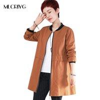MLCRIYG мода повседневная длинные пальто женщины ветровка О-образным вырезом женский плюс размер хлопок тренч дамы пальто с длинным рукавом осень пиджаки