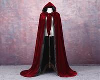 ワインレッドブラックベルベットフード付きクロークウェディングケープハロウィーンウィッカローブコートS-6XLクリスマス中世のベルベットフード付きクロークWicca Witchcraft