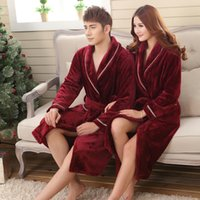 Zebery Warm Flannel Long-sleeved Robe Red Couple Adults Siamese Pajamas Laced Fashion Night Gown For Women Man