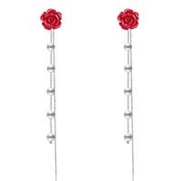 Женщины смолы роза цветок серьги шпильки с длинными бисером имитация Жемчужина кисточкой цепи серьги для партии выпускного вечера