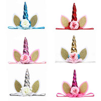 Kids Colorful Unicorn Horn Hairband Chiffon Unicorn Headband...