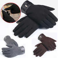 Large Discount Winter Mens Full Finger Smartphone Screen Cashmere Gloves Warm Comfortable Black Mittens Guantes Hombre