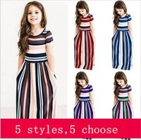 Girls Dresses Girls Colorful Striped Dress Short Sleeve Prin...