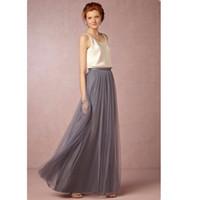 Vêtements pour femmes Jupe taille Tulle Maxi Jupes Taille personnalisée Satin Une ligne Longueur de plancher Modeste Jupe longue