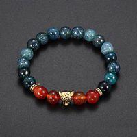 agate kristall stein leopard kopf armband männer schwarz rot heilungsbalance perlen reiki buddha gebet natürlich stein armband für frauen