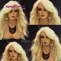Ручной работы кружева фронт парик горячей новой моды женщин длинный свет блондинка вьющиеся волнистые полный кружева передние парики