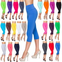 Ladies Casual Cropped Leggings Comfy High Waist Cotton Size ...