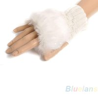 Women Lady Girl Faux Rabbit Fur Hand Wrist Warmer Winter Fin...