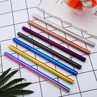 215*12mm Stainless Steel Straw 7 Colors Colorful Drinking Re...