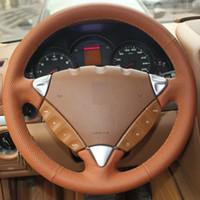 Couvre volant de voiture cousu main en cuir orange véritable pour Porsche Cayenne 2007-2010