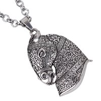 whole sale2017 New Vintage Silver Horse Head Pendant Necklac...