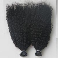 Virgin Mongolian AFRO Kinky вьющиеся волосы целая голова 200г, я наконечник человеческих волос наращивания волос предварительно связанные наконечники наконечника к кератиновым наконечником 200с