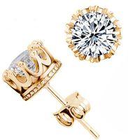 أقراط فضية 925 أقراط التاج كريستال الطبيعية للرجال أو النساء المجوهرات