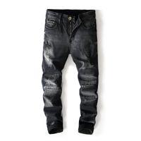 2018 Yeni Moda Marka Siyah Renk Erkek Kot Yüksek Sokak Tahrip Yırtık Kot Homme Motor Biker Erkekler Pantolon 8006 #