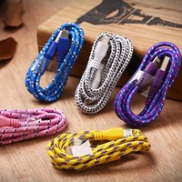 V8 1M Cell Phone Cables colorful Nylon USB mobile phone cabl...